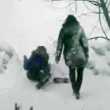 Russian Girls Falling In The Snow